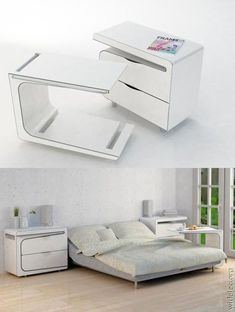 Inventions - Side Table Plus A Morning Breakfast Bed Table Multifunctional Furniture, Smart Furniture, Space Saving Furniture, Furniture Design, Furniture Ideas, Compact Furniture, Modular Furniture, Classic Furniture, Plywood Furniture