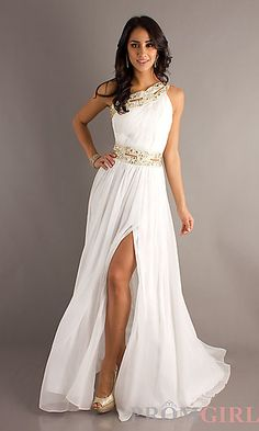 Long Prom Dresses and Formal Prom Gowns - PromGirl - PromGirl. Elegant  White Sleeveless Chiffon ... bd231ada58aa