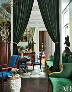 Pair of Hunter Green Velvet Curtains, Silky Velvet Curtains, Living Room Velvet Curtains, Custom Curtains Green Rooms, White Rooms, Green Walls, Architectural Digest, Home Theaters, New York City Apartment, Manhattan Apartment, Velvet Curtains, Curtains Living