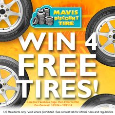 Feelin' Lucky? Enter to Win 4 Tires from Mavis Discount Tire. find out how here: http://www.facebook.com/mavisdiscounttire
