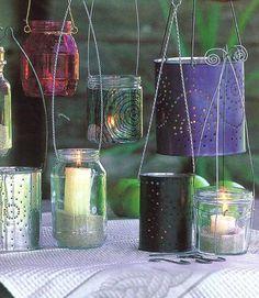 Como fazer lanternas de frascos   Faça Voce Mesmo - Bricolage, Casa e Jardim