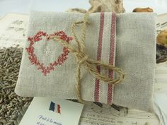 Lavender Sachets Set of Three  French Linen with Red  by Krishenka