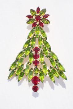 Gale & Friends Green Navette Rhinestone Christmas Tree Brooch #GaleFriends