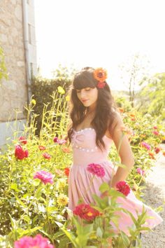 Robe / Dress : Kelsey Genna ( at Audrey Grace Boutique ) sep Soft Pink Dress, Pink Sundress, The Cherry Blossom Girl, Princess Shot, Current Fashion Trends, Summer Of Love, Summer Time, Her Hair, Love Fashion