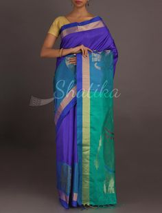 Nausheen Shades Of Blue Attractive #WeddingSilkSaree