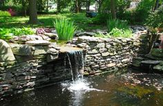 Beautiful pond with a waterfall , Landscaping Software, Landscaping Tips, Pond Bridge, Garden Waterfall, Patio Layout, Natural Pond, Backyard Water Feature, Water Pond, Water Features In The Garden