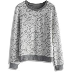 Chicwish Full Floral Lace Sweat Top (31.390 CLP) ❤ liked on Polyvore featuring tops, hoodies, sweatshirts, sweaters, shirts, sweatshirt, grey, gray sweatshirt, lace sweatshirt and flower print shirt