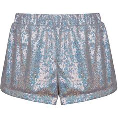 Holographic Sequin Shorts (430 DKK) ❤ liked on Polyvore featuring shorts, clothing - shorts, bottoms, hologram shorts, holographic shorts and sequined shorts