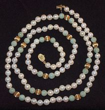 Beautiful Cultured Pearl Necklace with Jade and 14K Gold Accent Beads