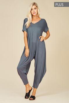 c5419c65884b Plus Size Roll Up Sleeve Jumpsuit