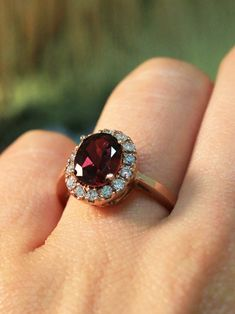Garnet And Diamond Ring, Diamond Rings, Gold Rings, Garnet Rings, Stackable Wedding Bands, Diamond Wedding Bands, Garnet Wedding Rings, Gemstone Engagement Rings, Beautiful Engagement Rings