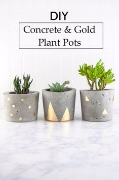 DIY Projects Made With Concrete - Concrete And Gold DIY Plant Pots - Quick and Easy DIY Concrete Crafts - Cheap and creative countertops and ideas for floors, patio and porch decor, tables, planters, vases, frames, jewelry holder, home decor and DIY gifts. Modern, Rustic and Farmhouse Decor Ideas http://diyjoy.com/diy-projects-concrete #diydecorprojects