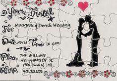 Invitaciones de boda tipo puzzle.