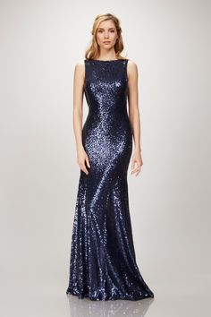 Navy Blue Sequin Gown with Cowl Back