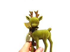 Christmas reindeer... I've never found a green flocked one before! Vintage Flocked Christmas Deer Green Flocked by PaperWoodVintage, $7.75