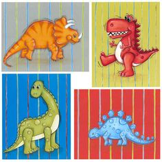 Dinosaur Wall Art Set 4 Prints Boys Wall Art by WallFlowerArtShop