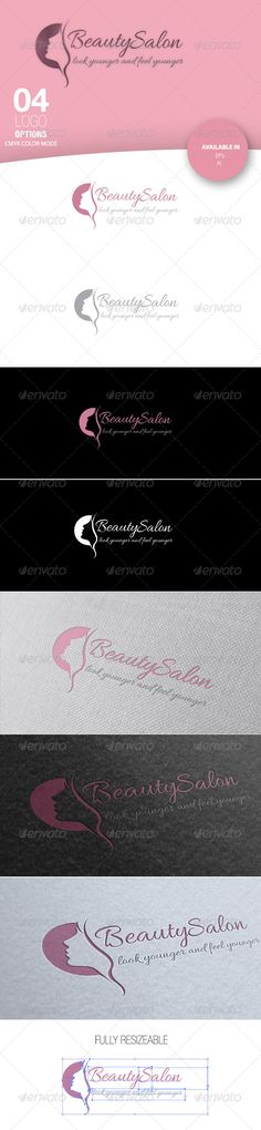 Beauty Salon Logo #GraphicRiver Beauty Logo 8 files. 4 logo options in PNG, AI, EPS. CMYK Color mode Very easy to edit and change colours 100% vector. No raster graphics. Free Font. Support Please send a message on Graphic river and I will be more than happy to help you. If you like my item please, please don't forget to rate. Created: 6June13 GraphicsFilesIncluded: VectorEPS #AIIllustrator Layered: Yes MinimumAdobeCSVersion: CS Resolution: Res...
