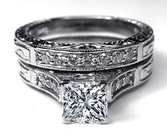 Engagement Ring - Princess Cut Diamond Engraved Engagement Ring & Matching Wedding Band in 14K White Gold - ES788PRBS