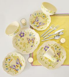 Bring a classic garden vibe to the table with Botanica Dinnerware by Pier 1.............love these purple butterfly plates