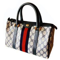 5a7335657753 Iconic Gucci Navy Leather + Monogram Canvas Web Boston Bag Speedy Satchel  1980s