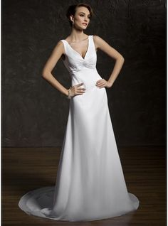 466cf18c8d3e A-Line Princess V-neck Court Train Chiffon Wedding Dress With Ruffle Lace