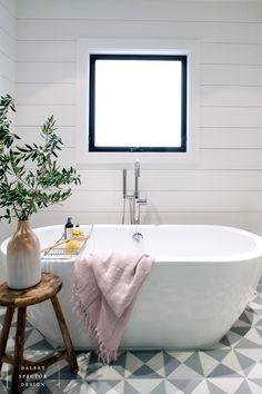 MarinaDelRey #masterbath #cementtiles #oakcabinetry #cementsinks #bathtub #shiplap