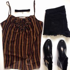 Tribal Print Cami Top Cause cutoffs need a cami. This cool cami top features a tribal print in black, orange and rust, thin adjustable straps and detailed accent on the front (very hard to describe, pictured in third photo). Sheer, 100% polyester BCBGeneration Tops