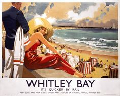 Vintage Travel Poster - UK - Whitley Bay - Railway