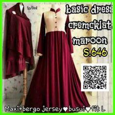 maxi basic dress crem coklat maroon s646