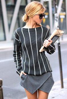 Fall / Winter - street chic style - party style - gray and white stripped sweater + gray and white stripped skorts + black sunglasses + nude clutch