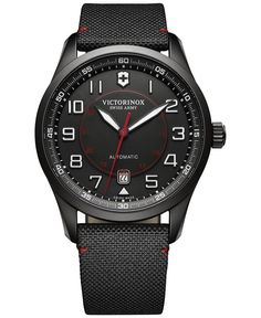 Sport meets style with this sleek looking timepiece from Victorinox Swiss Army's Airboss collection. | Black nylon strap | Round black PVD stainless steel case, 42mm | Black dial with white numerals,