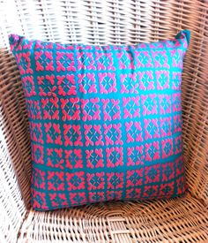 Small Screenprinted Bright Cushion by LizziePinniger on Etsy, £9.99