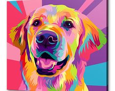 Golden Retriever canvas print picture wall art home decor free fast UK delivery Colorful Animal Paintings, Colorful Animals, Canvas Pictures, Print Pictures, Canvas Art Prints, Wall Art Prints, Dog Canvas Painting, Diy Canvas, Toile Photo
