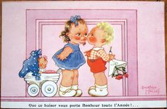 1930s Beatrice Mallet/Artist-Signed Postcard: Girl w/Doll Kissing Boy w/Flowers | eBay