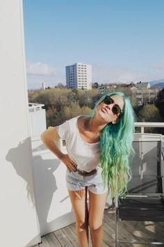 Green blue mermaid coloured hair
