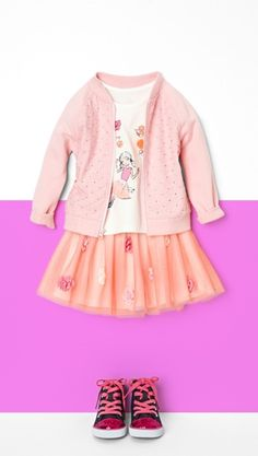 Playtime style made pretty. | Toddler fashion | Jacket | Graphic tee | Tutu skirt | Hi-top sneakers | The Children's Place