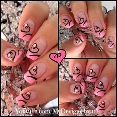 Easy Valentine's Day Nail Art | Cute Heart French Tip Nails #valentinesnails #pinknails #valentinesdaynails