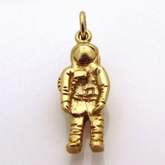 Vintage 10K Gold 3D *Astronaut with Backpack* Space Charm Solid 4.9 from charmalier on Ruby Lane