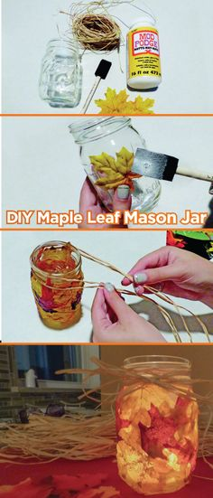Looking for an easy craft project for Fall? Try this DIY Maple Leaf Mason Jar. Here's a tip: add a tea light for a warm glow that will add ambiance to any event.