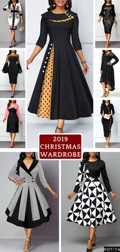 Not sure how to participate in Christmas Day without looking cheesy? Let the Rotita Christmass Day outfit ideas ahead show you how.Dreaming Loud, features the ultimate Christmas gift guide for yourself. All White Party Outfits, Black Dress Outfits, Frock Fashion, Fashion Sewing, Cheap Black Dress, Black Dresses Online, African Maxi Dresses, Dress Indian Style, Winter Fashion Outfits