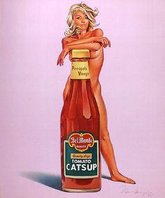 Della Monty by Mel Ramos Nude Ketchup Pop Art Postcard Pinup Art, Vintage Advertisements, Vintage Ads, Vintage Posters, Retro Advertising, Plus Size Burlesque, Pop Art Images, Bing Images, Arte Online