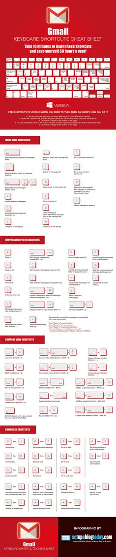 Gmail Keyboard Shortcuts Cheat Sheet #Infographic #Computer