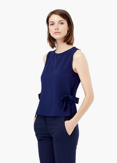 Bow textured t-shirt -  Women | MANGO