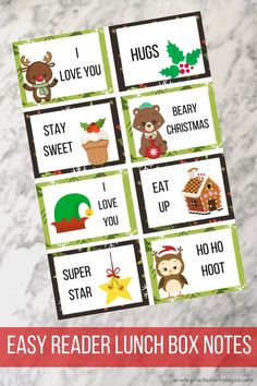 Lunch box notes are fun--but Christmas lunchbox notes are even better! Enough notes for all the school days in December, these Christmas lunch notes are sure to inspire your kiddos to get into the holiday spirit.Click thru to view all my lunch box notes! Lunchbox Notes For Kids, Lunch Box Notes, Christmas Lunch, Christmas Themes, Retro Christmas, Christmas Christmas, Christmas Crafts, School Notes, School Days