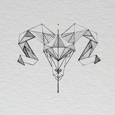 Graphic & Communication Design Geometric Ram Illustration  Irish Black and White Scribble by Anna Haury
