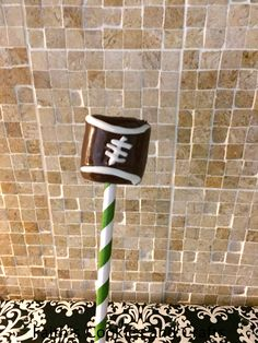 Football marshmallow pop - #straw from #pickyourplum