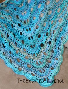 IMG_6140. German Triangle Shawl made with R.H. Unforgettable