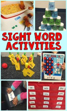 Sight Word Activities Fun and helpful sight word activities! Includes many hands on highly engaging sight word ideas!Fun and helpful sight word activities! Includes many hands on highly engaging sight word ideas! Teaching Sight Words, Sight Word Practice, Sight Word Games, Sight Word Activities, High Frequency Words Kindergarten, Kindergarten Sight Words List, Sight Word Wall, First Grade Sight Words, Kindergarten Reading