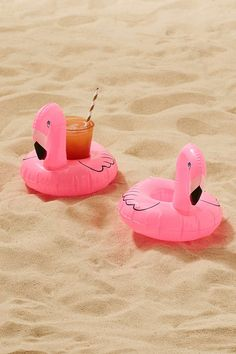 Slide View: 2: Flamingo Cup Holder Pool Float Set