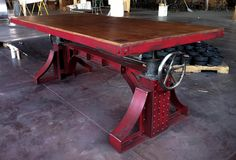 I want this Vintage Industrial Bronx Crank Table!